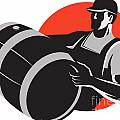Man Carrying Wine Barrel Cask Keg Retro Poster by Aloysius Patrimonio