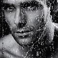 Man face wet from water running down it Black and white Print by Oleksiy Maksymenko