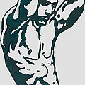 Man nude pop stylised etching art poster  Print by Kim Wang