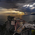 Manarola Sunset Storm Poster by Mike Reid