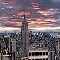 Manhattan under a red sky Print by Joachim G Pinkawa
