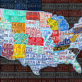 Map of the United States in Vintage License Plates on American Flag Print by Design Turnpike
