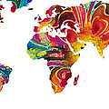 Map of The World 2 -Colorful Abstract Art Print by Sharon Cummings