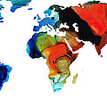 Map of The World 3 -Colorful Abstract Art Poster by Sharon Cummings