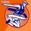 Marathon Finish What You Started Retro Poster Print by Aloysius Patrimonio