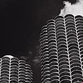 Marina City Morning B W Poster by Steve Gadomski