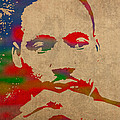 Martin Luther King Jr Watercolor Portrait on Worn Distressed Canvas Poster by Design Turnpike