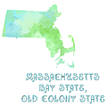 Massachusetts - Bay State - Old Colony State - Map - State Phrase - Geology Poster by Andee Photography