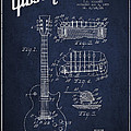 Mccarty Gibson Les Paul guitar patent Drawing from 1955 - Navy Blue Print by Aged Pixel