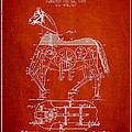 Mechanical Horse Patent Drawing From 1893 - Red Print by Aged Pixel