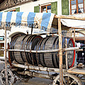Medieval wagon used for transporting wine Print by Elzbieta Fazel