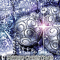 Merry Christmas Blue Poster by Mo T