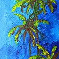 Miami Beach Palm Trees in a blue sky Print by Patricia Awapara