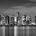 Miami Skyline at Dusk Black and White BW Panorama Print by Jon Holiday