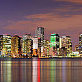 Miami Skyline at Dusk Sunset Panorama Poster by Jon Holiday