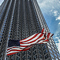 Miami's Financial Center and Old Glory Print by Rene Triay Photography