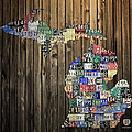 Michigan Counties State License Plate Map Poster by Design Turnpike