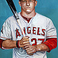 Mike Trout - LA Angels of Anaheim Poster by Michael  Pattison