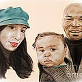 Mike Tyson and Family Altered Version From the One I Gave Him Print by Jim Fitzpatrick