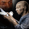 Mike Tyson and Pigeon II Print by Jim Fitzpatrick