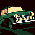 Mini Cooper Green Poster by Michael Tompsett