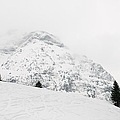 Minimalist snow landscape - mountain and trees in winter Print by Matthias Hauser