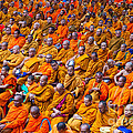 Monk Mass Alms Giving in Bangkok Poster by Fototrav Print