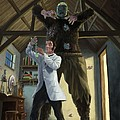 monster in victorian science laboratory Print by Martin Davey