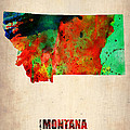 Montana Watercolor Map Poster by Naxart Studio