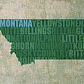Montana Word Art State Map on Canvas Poster by Design Turnpike