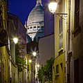Montmartre Street and Sacre Coeur Print by Inge Johnsson