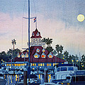 Moon over Coronado Boathouse Print by Mary Helmreich