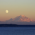 Moon Over Rainier Print by Adam Romanowicz