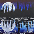 Moon Reflection Over Walden Pond Poster by Tracy Levesque