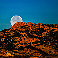 Moon Setting Behind Horsetooth Rock at Sunrise Print by Harry Strharsky