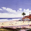 Moonlight Beach Encinitas Print by Mary Helmreich