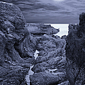 Moonlight over Rugged Seaside Rocks Poster by Jane McIlroy