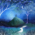 Moonlite and Hare Print by Amanda Clark