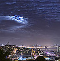 Moonrise Over San Francisco November Panorama View Print by David Yu
