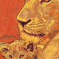 mother and cub Print by Jane Schnetlage