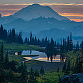 Mount Rainier Layers Poster by Mike Reid