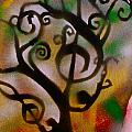 Musical Tree Golden Print by TONY B CONSCIOUS