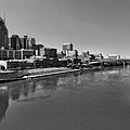 Nashville Skyline In Black And White At Day Print by Dan Sproul