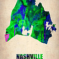 Nashville Watercolor Map Print by Naxart Studio
