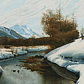 Near La Punt St Morritz in the Engadine Valley Poster by Peder Monsted