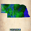 Nebraska Watercolor Map Poster by Irina  March