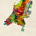 Netherlands Watercolor Map Print by Michael Tompsett