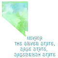 Nevada - The Silver State - Sage State - Sagebrush State - Map - State Phrase - Geology Poster by Andee Photography