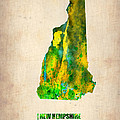 New Hampshire Watercolor Map Poster by Naxart Studio