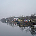 New Hope River View on a Misty Day Print by Bill Cannon